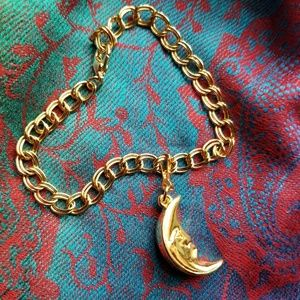 Man in the moon charm bracelet gold tone crescent